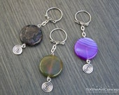Spiral keychain, round stone keyring, crystal bag charm, moss agate, purple agate, indigo gabbro, protection stones, yoga gift for her, him