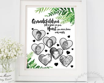 Grandmother Gift / Grandchildren Fill A Space In Your Heart Mothers Day Gift / Keepsake Birth Dates Art / Gift from the Grandchildren Print