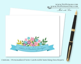 Free Ship!  Set of 12 Personalized / Custom Notecards, Boxed, Blank Inside, Floral Ribbon Banner, Pastel V3, Initials, Monogram, Name