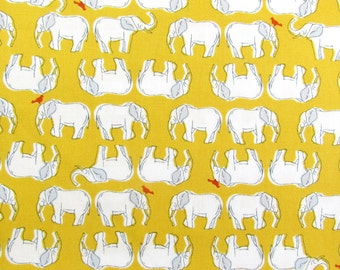 Elephants in Yellow by Sevenberry Cotton Fabric Fat Quarter