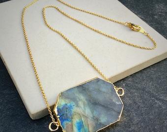 Labradorite necklace -  gemstone necklace - gemstone pendant - gemstone druzy labradorite pendant - boho chic gold labradorite necklace --