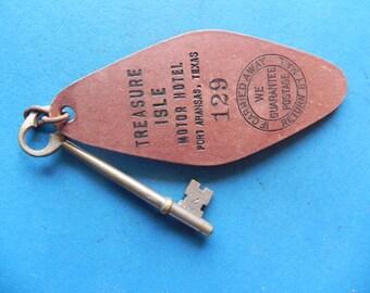 """Vintage Hotel Room Key. """"TREASURE ISLE. Port Aransas, Texas"""". Brass Skeleton Key and Tag. Old & Original."""