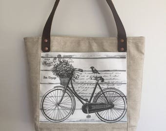 Linen canvas tote, waxed canvas tote, bicycle print, linen tote bag, canvas bottom