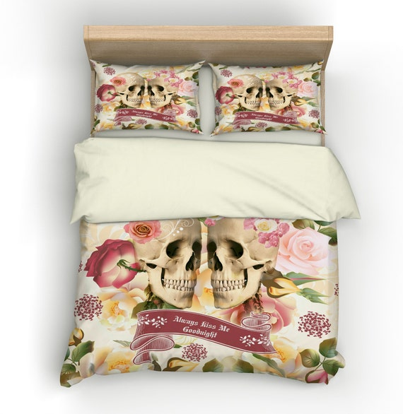 Skull Duvet Cover Comforter Set Rose Garden Always Kiss