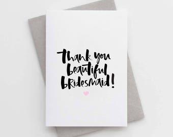 Thank You Bridesmaid Card - Beautiful Bridesmaid Card - Thank You Beautiful Bridesmaid Card - Bridesmaid Thank You Card Pack