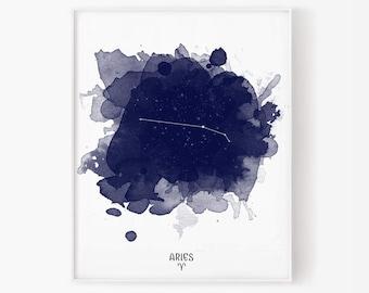 aries zodiac, march zodiac, april zodiac, aries watercolor, star sign, zodiac print, constellation, astrology, astronomy, star map, stars
