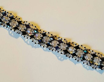 HANDMADE Crystal AB and Jet Bicones Wrapped in Silver Bugle Beads with a Silver Heart Toggle Clasp