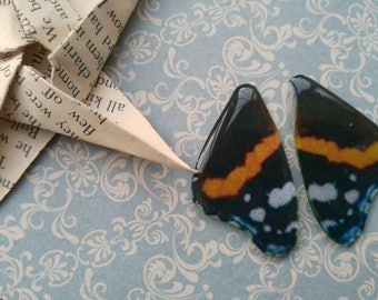 Red Admiral Butterfly Wings. British Butterflies.  Artbeads. Handmade fantasy beads. Insect wings. Entomologist. Resin