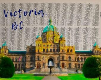 Victoria BC Dictionary Art Print Canada Parliament Building Wall Art Home Decor Gift Ideas Travel Poster da1426