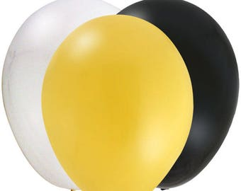 One Dozen - 12 Inch Latex Balloons In  Coordinating Colors - Bumble Bee Theme - Buzzing Bee's Balloon - Golden Yellow - Black & White