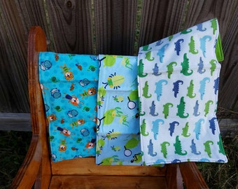 Baby Boy Burp Cloths- Gift Set of Three- Animals, Bugs, and Alligators - Blue and Green- Ready to Ship