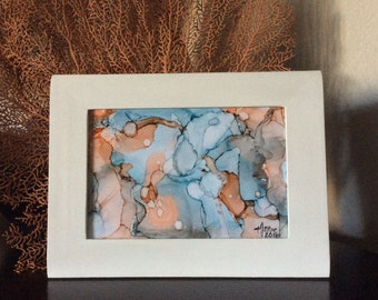 Alcohol ink art | small abstract painting | fluid painting | framed abstract art | mini wall art | modern abstract | original artwork