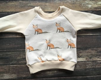 SALE: Organic Sweatshirt - Baby Fox - toddler fall outfit, woodland animals, woodland sweatshirt, natural baby clothes, neutral baby outfit