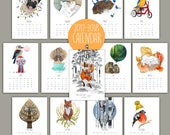 2017 Calendar from June till 2018 June Animals Forest Stories Nature Desk, Wall, Mini calendar Animal Cat Mini Home decor Fox bird