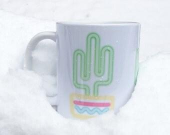 Neon Lights Saguaro, Saguaro Cactus Coffee Mug, Saguaro Cactus Mug, Cacti Mug, Neon Cactus Mug, Desert Cactus Cup, Coffee Cup, Cactus Cups