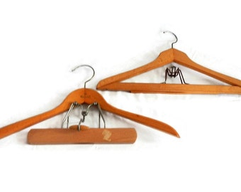 Vintage Set of 2 Wooden Suit Hangers - wood, metal - hold pants and jacket, photo prop, craft, farmhouse, cottage chic, retro, industrial