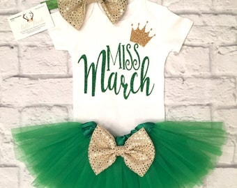 Baby Girl Clothes, Miss March Bodysuit, Little Miss March Shirts, St.Patricks Day Bodysuits, Miss March Shirts, March Birthda Shirts