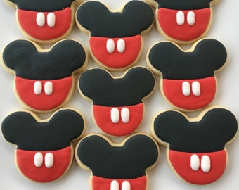 Mickey Mouse Cookies - 1 Dozen; Mickey Mouse Theme Cookies; Mickey Mouse Party Favors