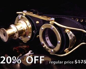 Steampunk Goggles Goth TheatricalBrass Telescope Cosplay LARP All Black