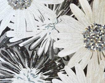 Glass Art Daisy Flowers Mosaic