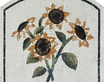 Four sunflowers on marble mosaic tiles
