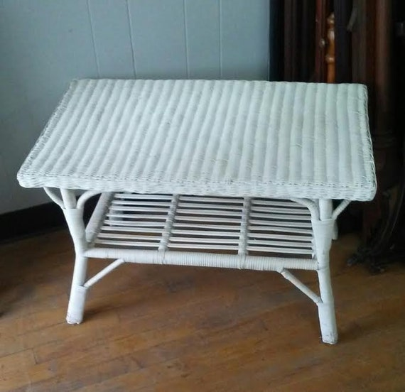 White Coffee Table Near Me: RESERVED LISTING-White Wicker Table Vintage End Table Small