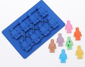 1 Set (2 Pcs.) Lego Blocks And Legoman Silicone Mold - Sugarcraft Fondant Chocolate Cake Decoration - Lego Man Flexible Resin Mould - m008