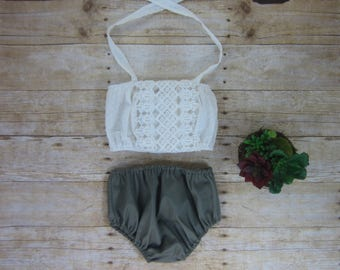 Baby and Toddler Girls Boho Ivory Crop Top and Olive Bloomers Set - 12/18m, 18/24m, 2T, 3T Ready to Ship