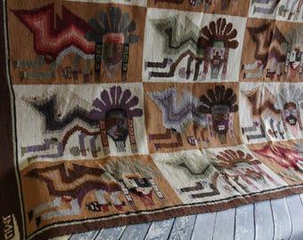 Vintage Peruvian Llama Wool Tumi Rug