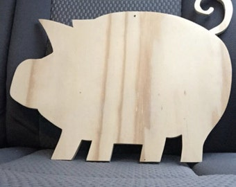 Large Wooden Pig Cutout