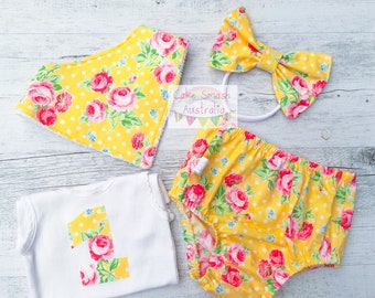 Flower Sugar Yellow 4Pc Cake Smash Set/Outfit Size 1