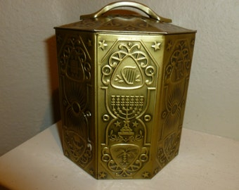 Vintage Gold Tone Embossed Jewish Theme Candy Tin With Handle