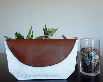 Minimal Choco Brown & White Italian Leather Clutch Purse light and soft!!!