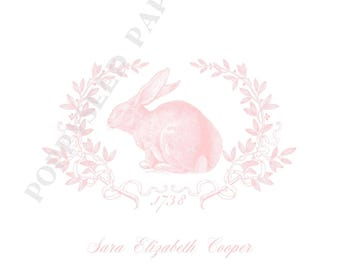 Bunny personalized folded note cards, bunny stationery, bunny thank you notes