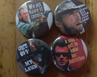 Clint Eastwood - Movie icon - Quotes - 4 pin button badge set - Gran Torino, Dirty Harry, Unforgiven, The Stranger