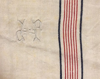 Grand old rag linen, beautiful Monogram JP, embroidered hand