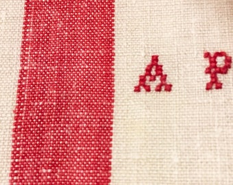 Grand old rag linen, beautiful Monogram AP, color red, embroidered hand, new, never used