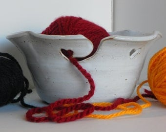 Fluted Yarn Bowl with Cream Colored Hearts