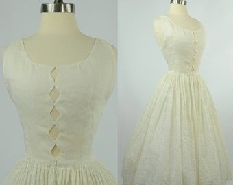 1950s Linen Dress Cutout Bodice Lace Skirt XS