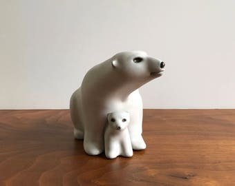 Vintage Ceramic Mother and Cub Polar Bears by POD Pottery of Edgecomb Maine