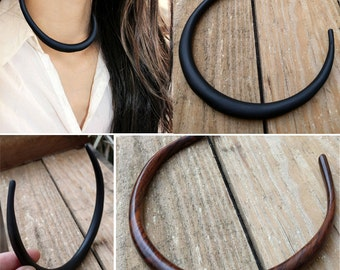 NEW Simple Areng or Sono Wood Choker Collar Necklace Elegant Minimalist Modern Handmade Hand Carved One Size