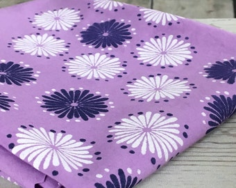 Natural Cotton Lilac Fabric with flowers, pale violet cotton fabric hand dyed & handprinted with flowers design in white and dark blue