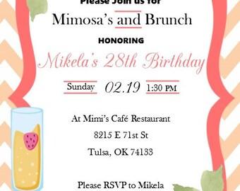 Mimosa Brunch Birthday Invitation