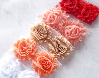 10 Shabby CHIFFON FLOWERS, Chiffon Flowers, Shabby Flowers, Chiffon Rose Trim, Chiffon Rose Flowers, Mixed Pack Flowers, Hair Bow Supply,