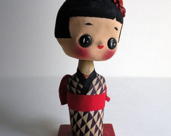 Japanese doll bobble head - 50s – Vintage