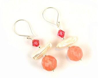 Cherry Quartz Sterling Silver Earrings