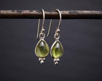 Peridot Earrings, Silver Drops, Peridot Teardrop Earrings, Silver and Peridot, Birthstone Jewellery Gift, August Birthstone, Sterling Silver