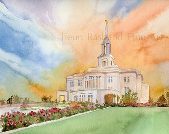 Payson LDS Temple- giclee print from original watercolor painting, LDS temple, temple painting, Payson Temple
