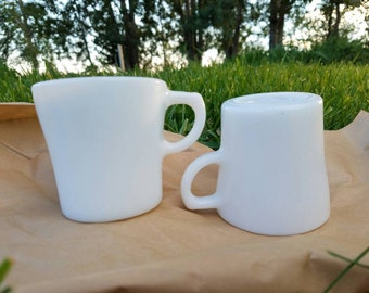 Matching pair of Pyrex Brand Tableware by Corning - Made in U.S.A., milk glass mugs, white mugs