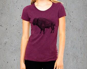 Womens BUFFALO BISON Head T Shirt)T-shirt Bohemian Clothing,Native American Apparel,Girlfriend Gift-Womens Graphic Tees-Birthday Gift Gifts